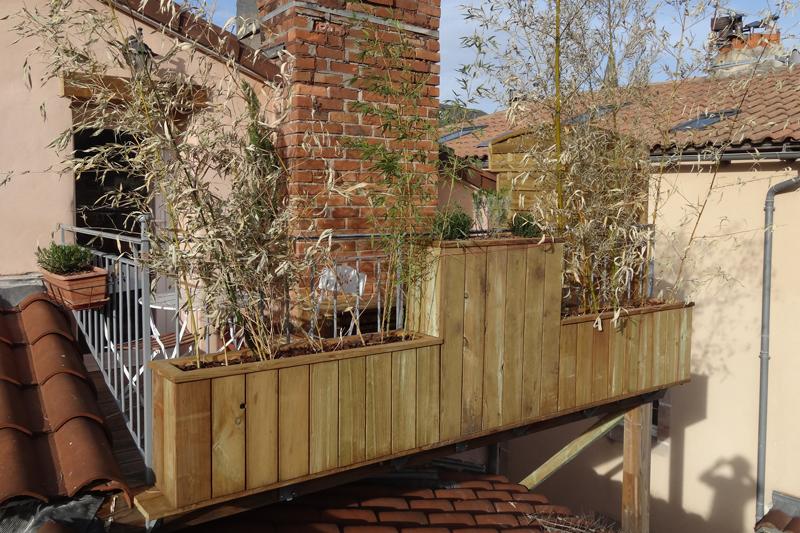 Jardinières en bois de douglas avec bac de culture en fer galvanisé